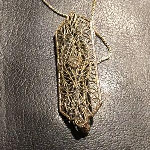 Victorian White Gold Diamond Pendant